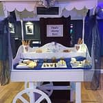 cheese cart dressed in blue