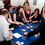 croupier dealing blackjack, corporate party