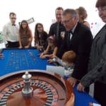 roulette table in play